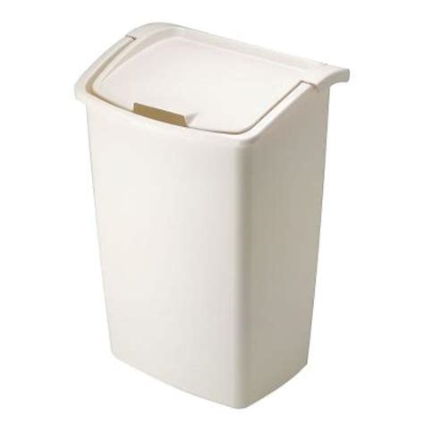 Home Depot Kitchen Trash Cans Rubbermaid 11 25 Gal Bisque Dual Trash Can