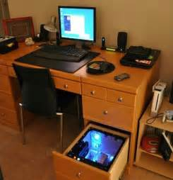 Computer Pc Desk Mod Modification Setup Gaming Computer Desk With Computer Inside