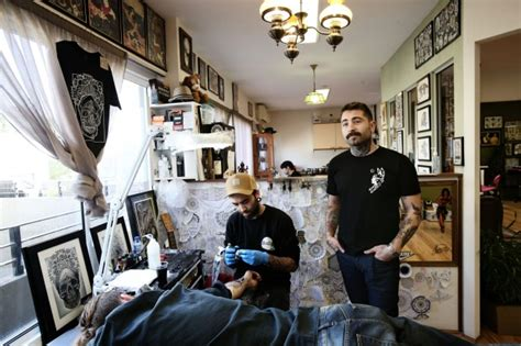 industrial tattoo vandalized owner says dave mezoghlian tattooist and owner of the