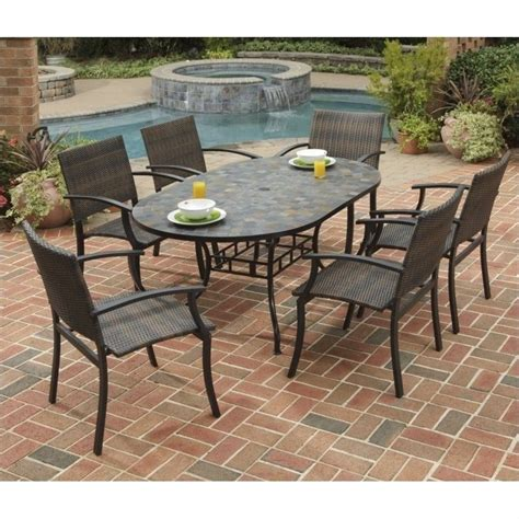 Black Patio Dining Set 7 Metal Patio Dining Set In Black 5601 33812