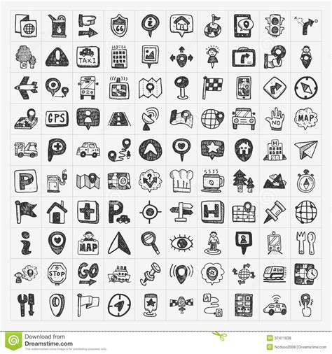 free doodle icons doodle map gps location icons set royalty free stock