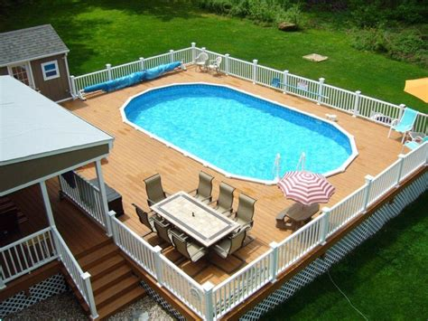 backyard swimming pools above ground above ground swimming pools with decks and fences