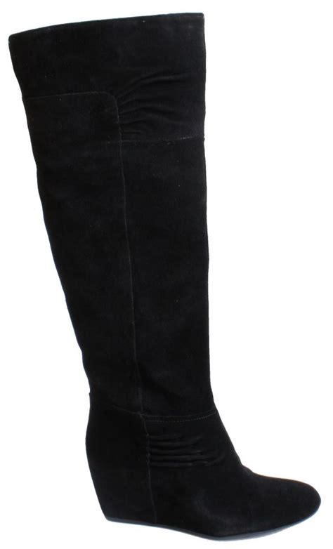 Boots Dg 24 nine west amelie womens black suede knee high wedge boots