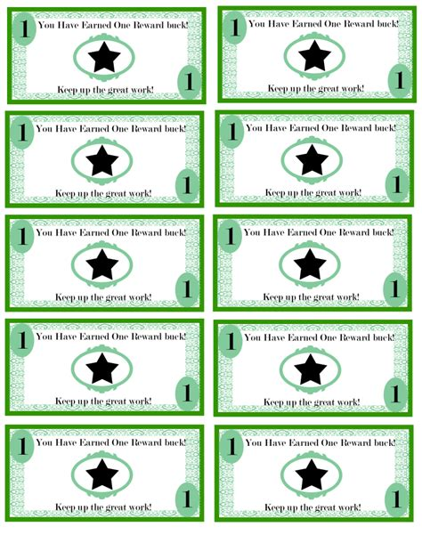 free printable reward bucks for kids money theme i m