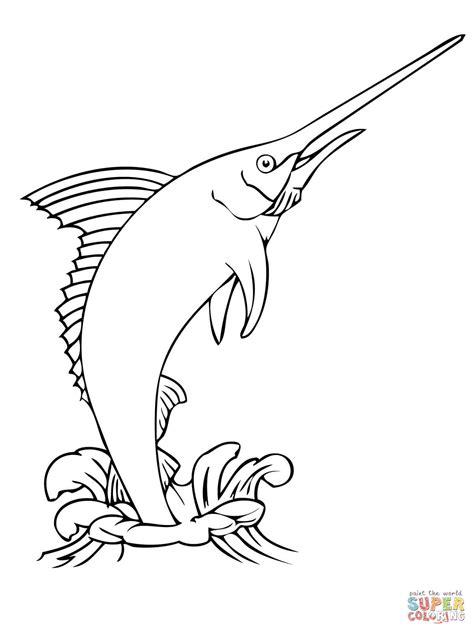 marlin fish coloring pages blue marlin jumping out water coloring page free