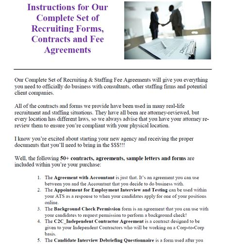 staffing contract template staffing contracts fee agreements and forms templates