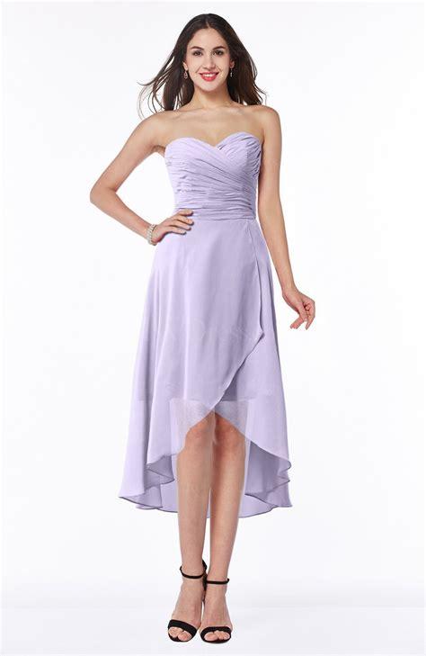 pastel lilac plain asymmetric neckline sleeveless chiffon