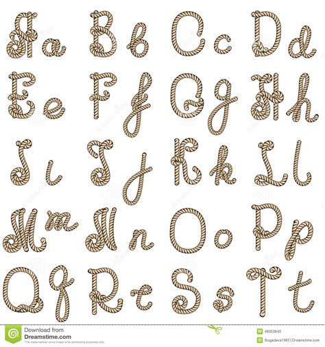 printable rope letters old rope alphabet from a to t stock vector image 48353843