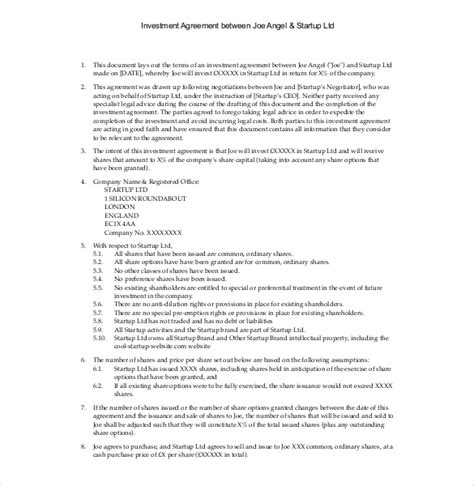 investor agreement template investment agreement template 12 free word pdf