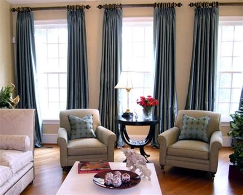 Living Room Curtain Styles by Three Window Curtains And Chairs For The Casa Grey Curtains Curtain Ideas And