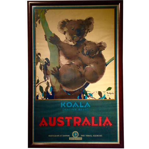 koala native bear australian travel poster  james northfield  stdibs