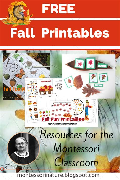 montessori printables preschool 6 best images of preschool printables autumn fall