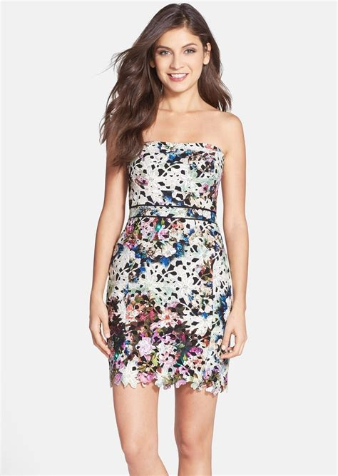 strapless lace sheath dress miller miller floral print lace strapless