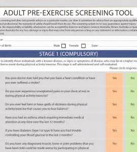 Pre Exercise Screening Form Template by Category Australian Institute Of Fitness