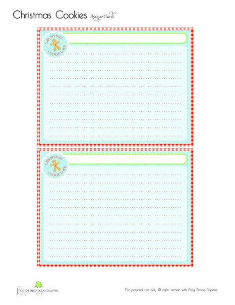 Free Cookie Recipe Card Template by Free Gingerbread Cookies Free Printable Recipe