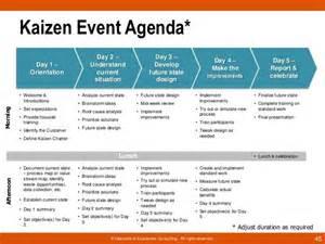 rapid improvement event template kaizen event exles kaizen event agenda day 1 business