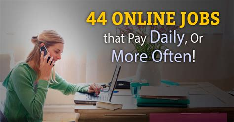 Online Work From Home Jobs That Pay Weekly - top 60 legitimate online jobs that pay daily or weekly