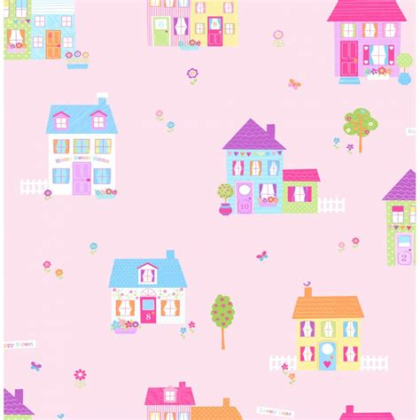 childrens wallpaper buy fine decor fun4walls happy street childrens wallpaper pink