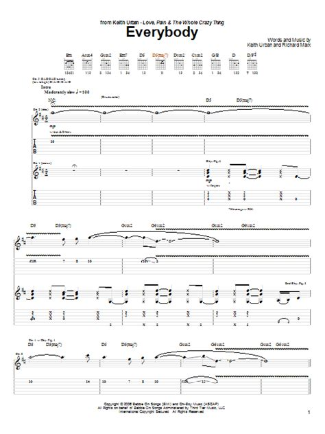 keith urban songs guitar chords everybody by keith urban guitar tab guitar instructor