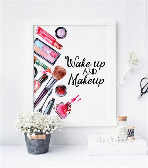 makeup wall art printable wakeup and makeup printable beauty room decor makeup