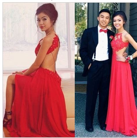 Backless Red Prom Dresses,High Neck Slit Side Lace Prom Dress,Open Back Long Evening Dresses