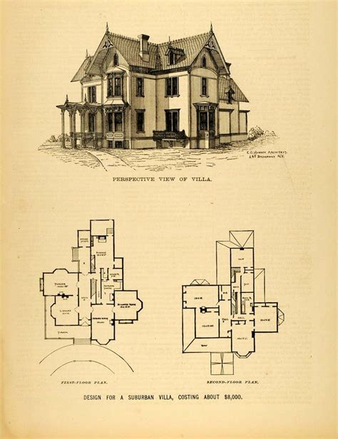 Victorian House Blueprints by Vintage Victorian House Plans 1878 Print Victorian Villa