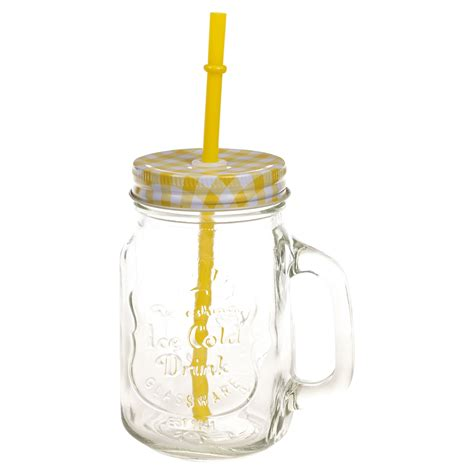 500ml glass cup with handle straw glasses