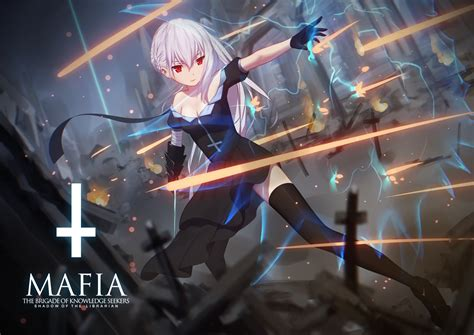 anime armor girl wallpaper braids red eyes white hair anime girls anime
