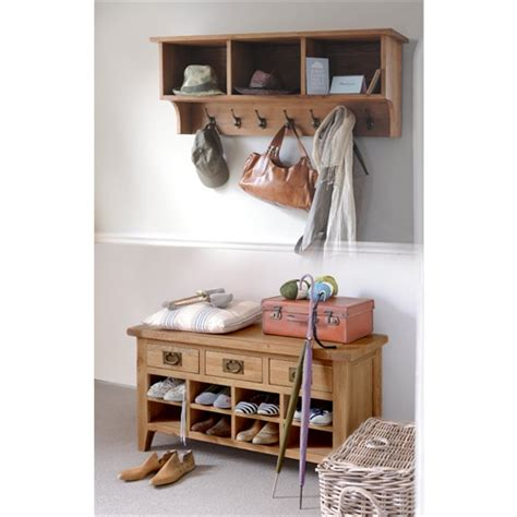 coat and shoe storage bench montague oak shoe bench and shelf set m500 with free