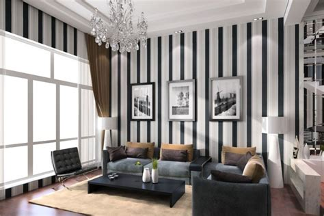 living room ideas terrys fabrics: living room design ideas of black and white vertical stripes wallpaper