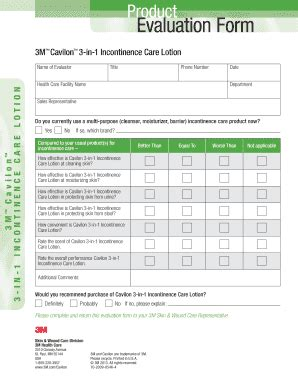 product evaluation form fillable product evaluation form for cavilon one