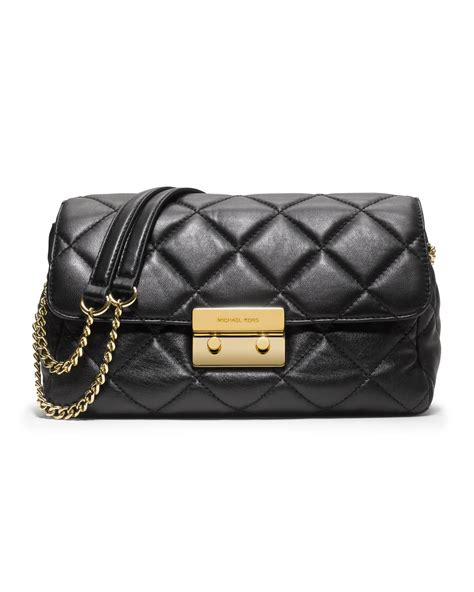 michael kors large sloan quilted shoulder bag in black lyst