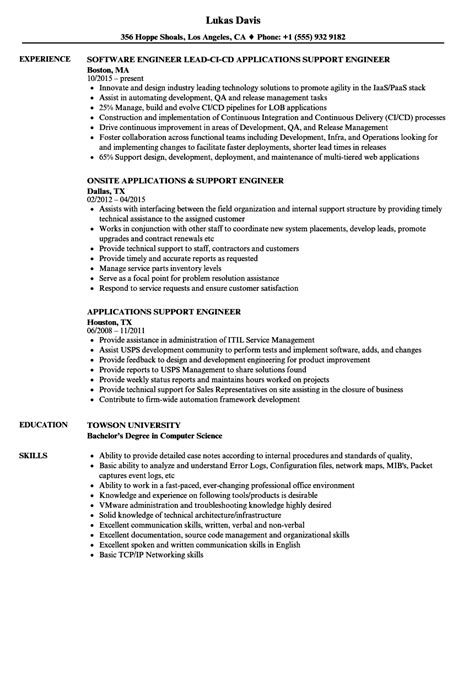 application support engineer sle resume template for an
