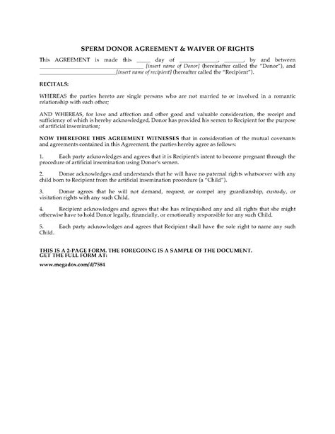 Sperm Donor Agreement And Waiver Of Rights Legal Forms