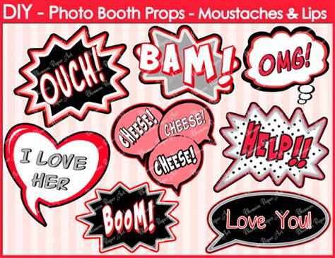 Free Printable Photo Booth Props Speech Bubbles | speech bubbles printable photo booth props diy printables