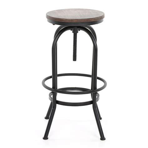 wood ikayaa height adjustable swivel bar stool rustic