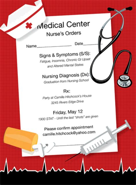 nursing school cards template nurses orders invitations by noteworthy collections