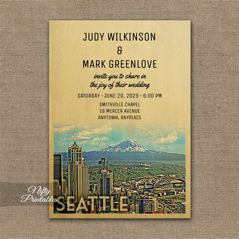 Wedding Invitations Seattle by Seattle Wedding Invitation Printed Nifty Printables