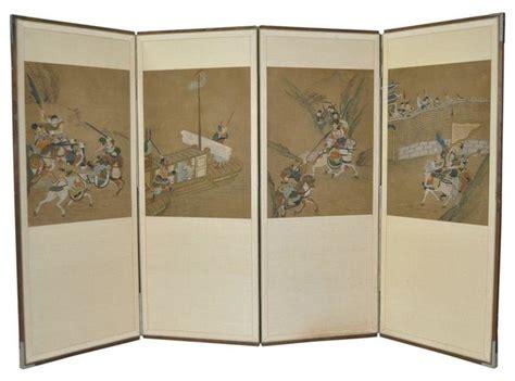 korean room divider painted 4 panel korean screen c 1950 screens and