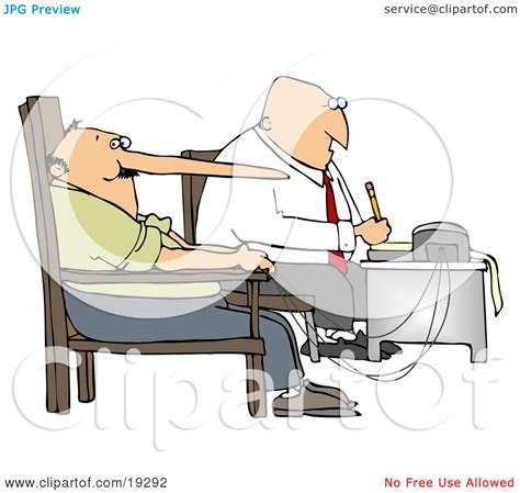 clipart illustration of a white polygraph examiner guy