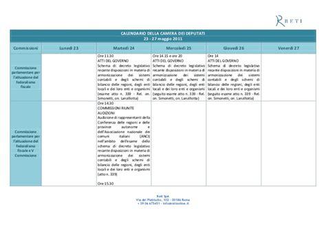 calendario dei deputati calendario dei lavori della 23 27 maggio 2011