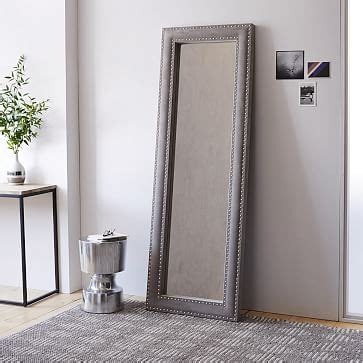 upholstered floor mirror dove gray velvet west elm