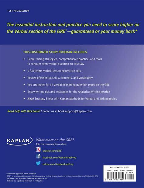 gre verbal section practice gre verbal workbook book by kaplan kaplan test prep