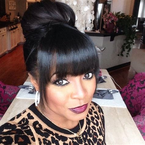 black hairstyles bun with bangs keshia knight pulliam guess which day it is humpday