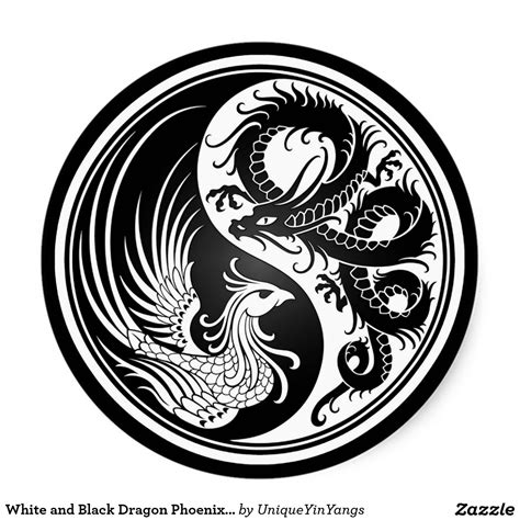 phoenix and dragon tattoo designs white and black yin yang sticker