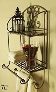 Wrought Iron Bathroom Shelves Tuscan Wrought Iron 2 Tier Wall Shelf With Towel Bars Shelves