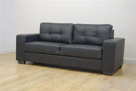 Clearance Porto 3 Seater Black Leather Sofa T911 Ebay