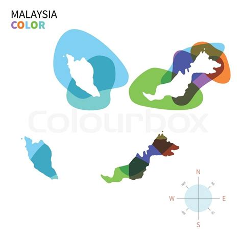 malaysia vector map abstract vector color map of malaysia with transparent