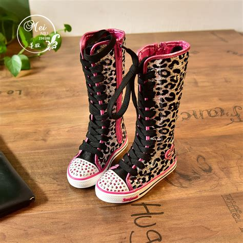 knee length canvas sequined boots rhinestone