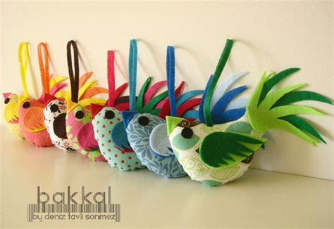 Handmade Fabric Crafts - bird handmade fabric and felt birds made to order fabric